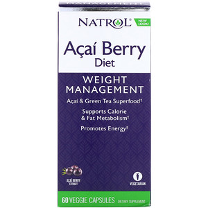 Natrol, アサイーベリーダイエット、アサイー&緑茶スーパーフード、植物性カプセル60粒