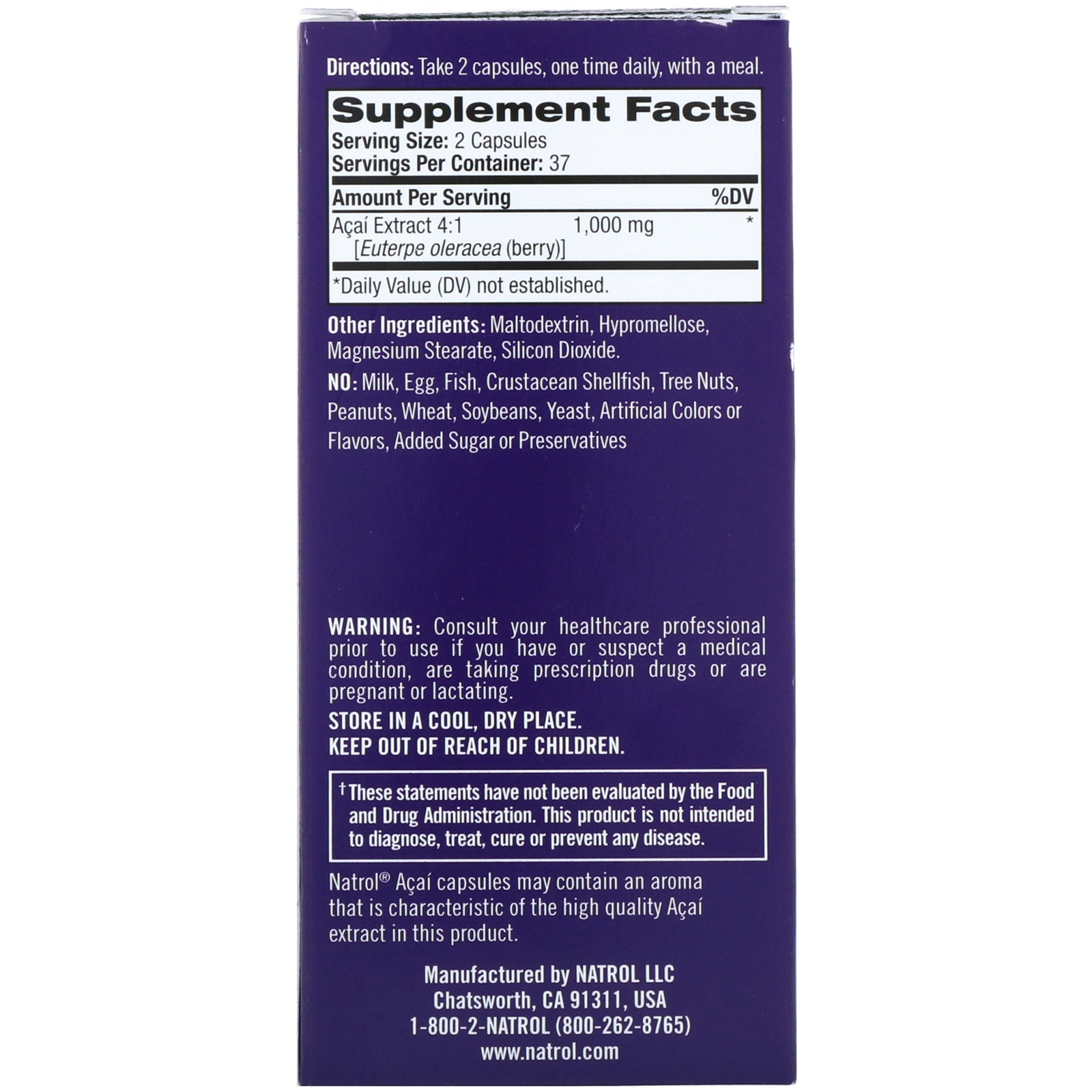 Natrol, Acai Berry, 1,000 mg, 75 Veggie Caps. By Natrol