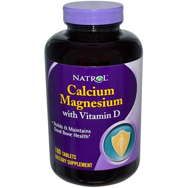 Natrol, Calcium Magnesium with Vitamin D, 180 Tablets (Discontinued Item)