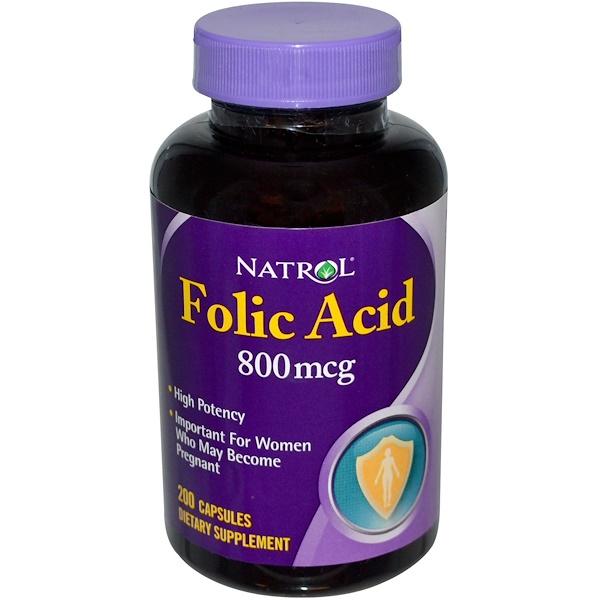 Natrol, Folic Acid, 800 mcg, 200 Capsules (Discontinued Item)