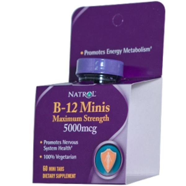 Natrol, B-12 Minis, Maximum Strength, 5000 mcg, 60 Mini Tabs (Discontinued Item)
