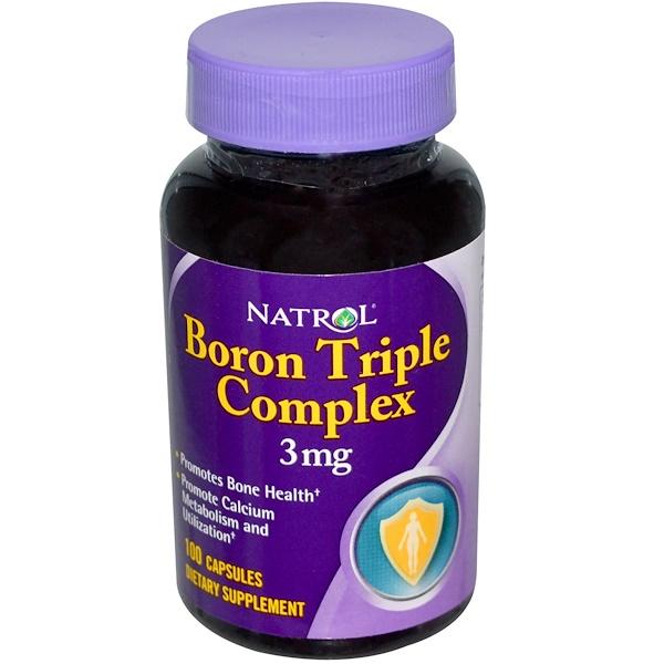 Natrol, Boron Triple Complex, 3 mg, 100 Capsules (Discontinued Item)