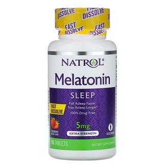 Natrol, Melatonin, Fast Dissolve, Extra Strength, Strawberry, 5 mg, 90 Tablets