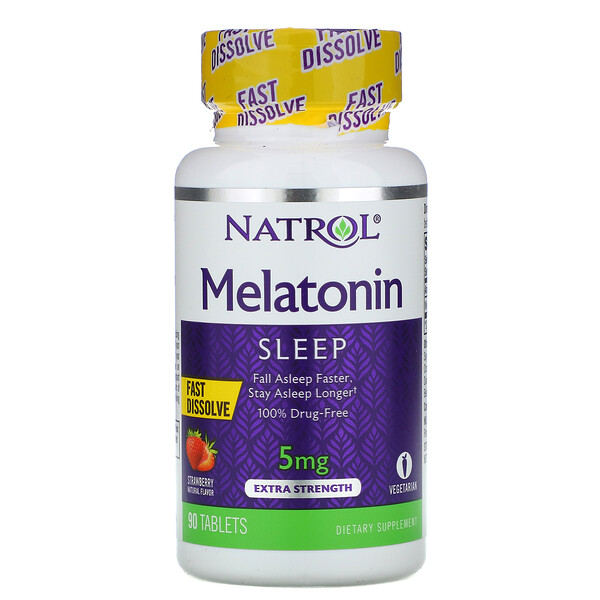 Melatonin, Fast Dissolve, Extra Strength, Strawberry, 5 mg, 90 Tablets