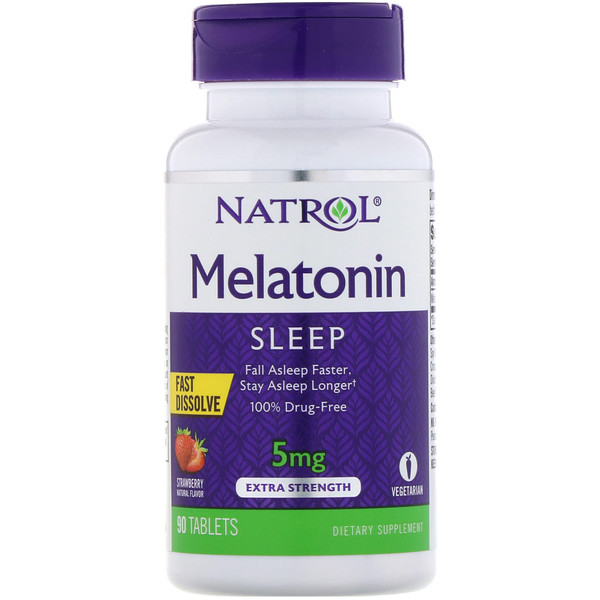 Natrol, Melatonin, Fast Dissolve, Extra Strength, Strawberry, 5 mg, 90 Tablets