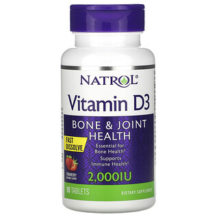 Natrol, витаминD3 для здоровья костей и суставов, клубничный вкус, 2000МЕ, 90таблеток