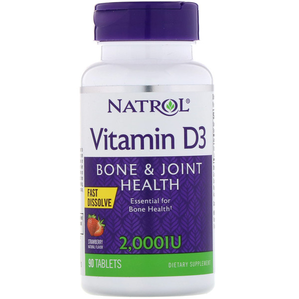 Natrol, Vitamin D3, Fast Dissolve, Strawberry, 2,000 IU, 90 Tablets