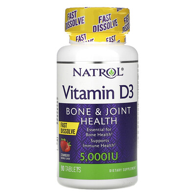 Natrol Vitamin D3, Bone & Joint Health, Strawberry , 5,000 IU, 90 Tablets