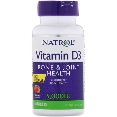 Витамин D3, быстрорастворимый, со вкусом клубники, 5 000 МЕ, 90 таблеток витамин d3 5000 ме 90 жевательных таблеток
