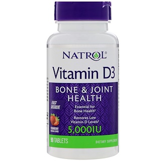 Natrol, Vitamin D3, Fast Dissolve, Strawberry Flavor, 5,000 IU, 90 Tablets