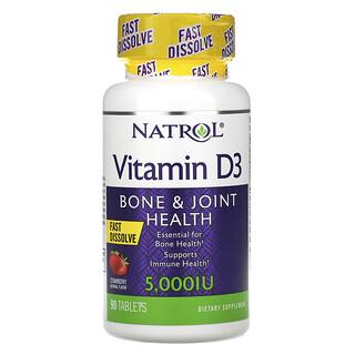 Natrol, Vitamin D3, Bone & Joint Health, Strawberry, 5,000 IU, 90 Tablets