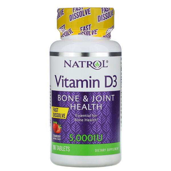 Vitamin D3, Fast Dissolve, Strawberry Flavor, 5,000 IU, 90 Tablets