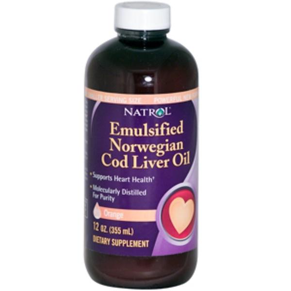 Natrol, Emulsified Norwegian Cod Liver Oil, Powerful New Formula, Orange, 12 oz (355 ml) (Discontinued Item)