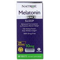 Мелатонин, улучшенный сон, медленное высвобождение, 10 мг, 60 таблеток - фото