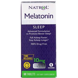 Natrol, Mélatonine, sommeil avancé, libération prolongée, 10 mg, 60 comprimés