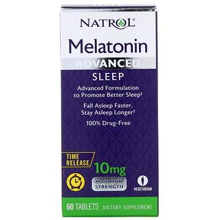 Natrol, Melatonina, Sono Avançado, Liberação Prolongada, 10 mg, 60 Comprimidos
