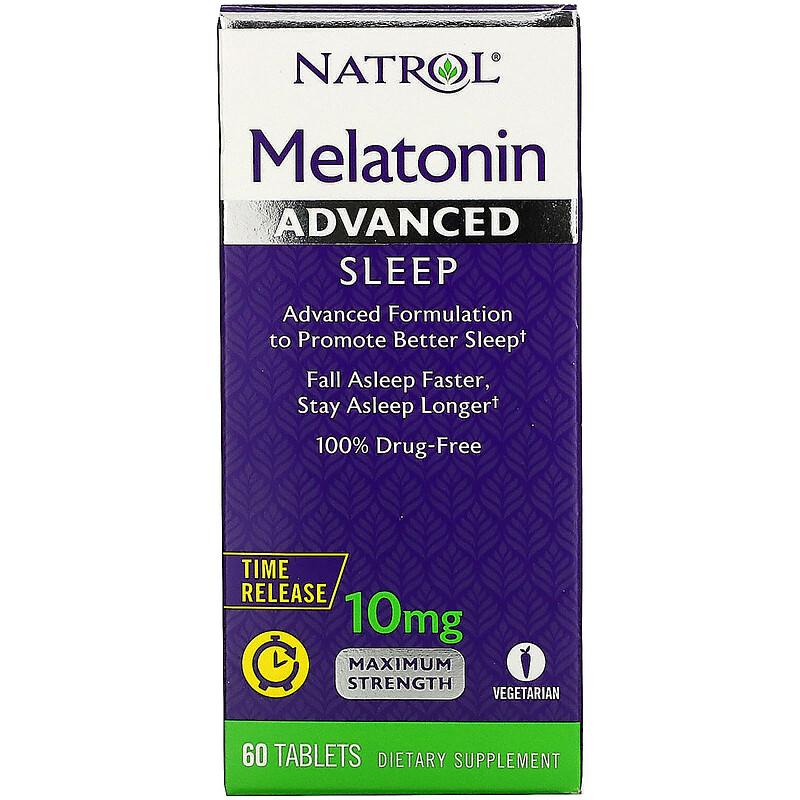 Natrol, 褪黑激素,高級睡眠,時間釋放,10毫克,60片