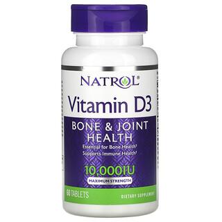 Natrol, Vitamin D3,  Bone & Joint Health, Maximum Strength, 10,000 IU, 60 Tablets
