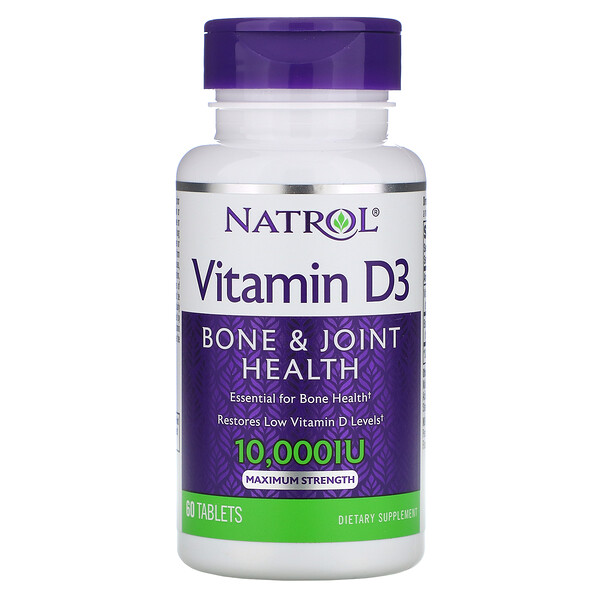 Natrol, Vitamin D3, Maximum Strength, 10,000 IU, 60 Tablets