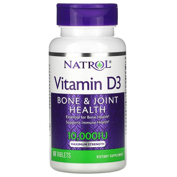 Vitamin D3, Maximum Strength, 10,000 IU, 60 Tablets