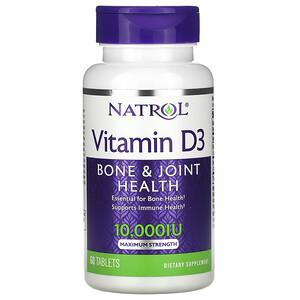 Нэтрол, Vitamin D3,  Bone & Joint Health, Maximum Strength, 10,000 IU, 60 Tablets отзывы покупателей