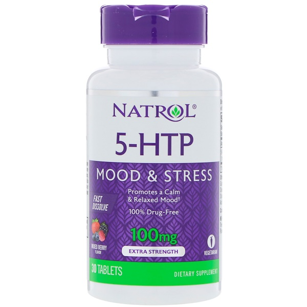 Natrol, 5-HTP、速溶性、エクストラストレングス、ワイルドベリー味、100mg、30錠