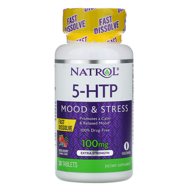 5-HTP, Fast Dissolve, Extra Strength, Wild Berry Flavor, 100 mg, 30 Tablets