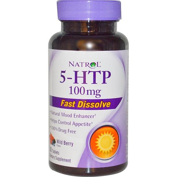 Natrol, 5-HTP, 野イチゴフレーバー 100 mg, 30 錠