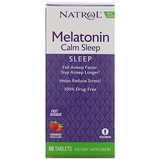 Natrol, Melatonin Calm Sleep, Fast Dissolve, Strawberry Flavor, 60 Tablets