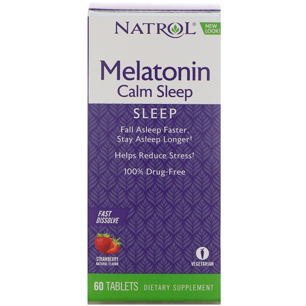 Melatonin Calm Sleep, Fast Dissolve, Strawberry Flavor, 60 Tablets