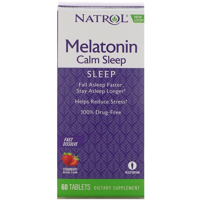 Natrol, 高級褪黑激素平靜睡眠, 快速溶解, 草莓口味, 60 片