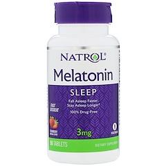 Natrol, Melatonin, Fast Dissolve, Strawberry Flavor, 3 mg, 90 Tablets