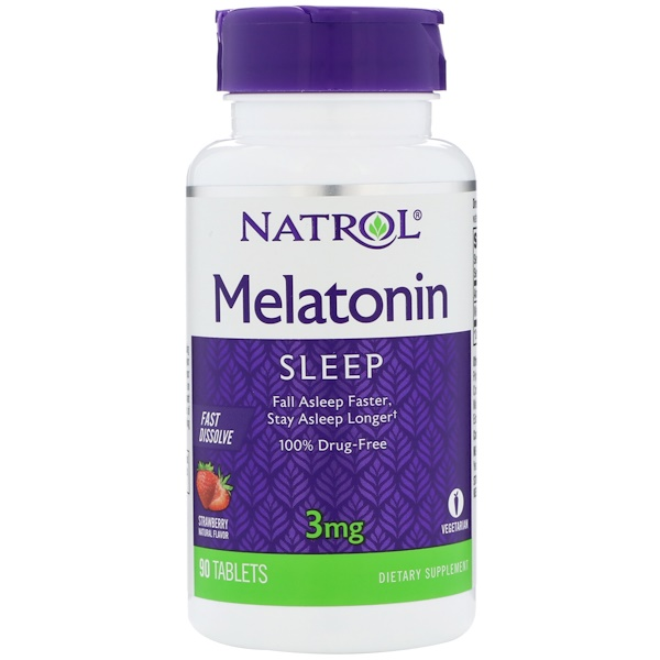 Natrol, Melatonin, Fast Dissolve, Strawberry, 3 mg, 90 Tabletas