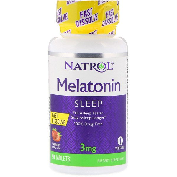 Melatonin, Fast Dissolve, Strawberry, 3 mg, 90 Tabletas