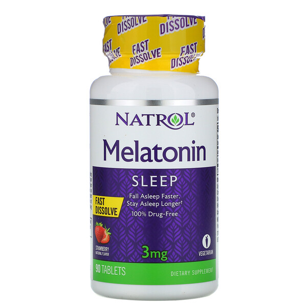 Melatonin, Fast Dissolve, Strawberry Flavor, 3 mg, 90 Tablets
