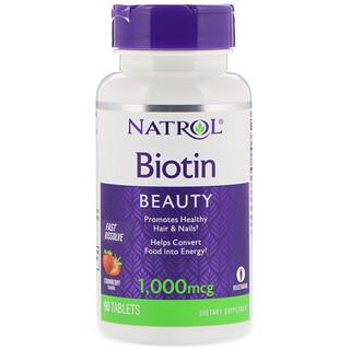 Natrol, Biotin, Fast Dissolve, Strawberry Flavor, 1,000 mcg, 90 Tablets