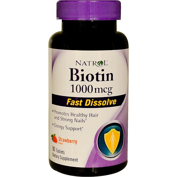 Natrol, Biotin, Fast Dissolve, Strawberry Flavor, 1000 mcg, 90 Tablets