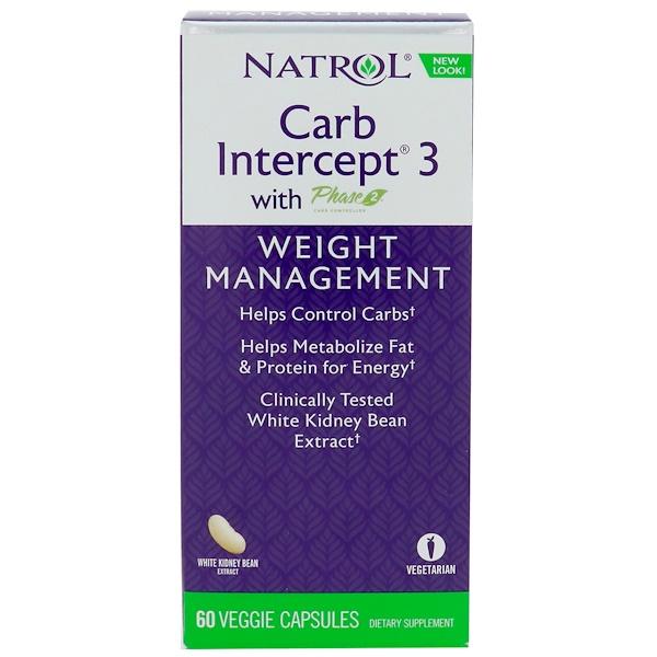 Natrol, Carb Intercept 3 with Phase 2, 60 Veggie Caps