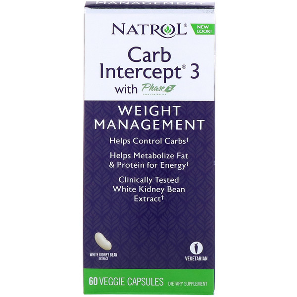 Natrol, Carb Intercept 3 with Phase 2 Carb Controller, 60 Veggie Caps (Discontinued Item)