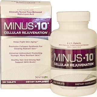 Natrol, Minus-10 Cellular Rejuvenation, Alpha Lipoic Acid (Ácido alfa lipoico), 120 Tabletas