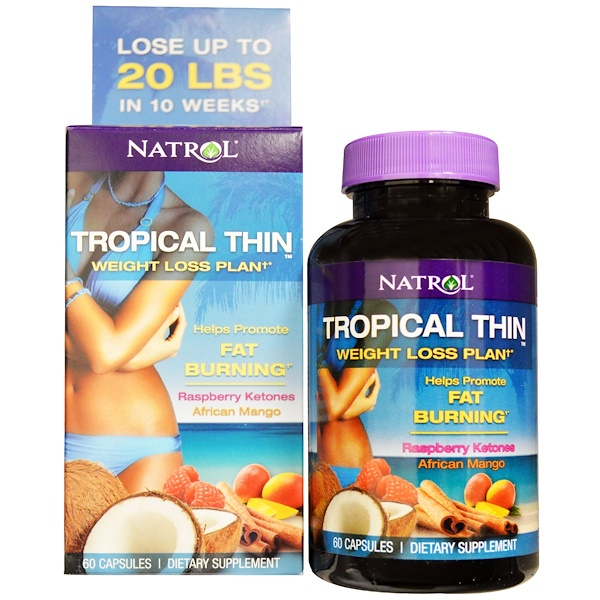 Natrol, Tropical Thin, Weight Loss Plan, Raspberry Ketones, African Mango, 60 Capsules (Discontinued Item)