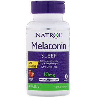 Natrol, Melatonin, Sleep, Fast Dissolve, Strawberry, 10 mg, 60 Tablets
