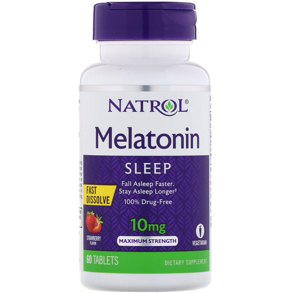 Natrol, Melatonin, Fast Dissolve, Maximum Strength, Strawberry, 10 mg, 60 Tablets (Discontinued Item)