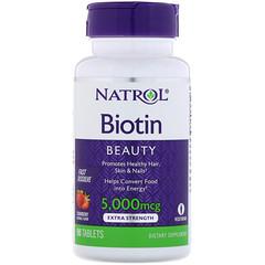 Natrol, Biotin, Strawberry, 5,000 mcg, 90 Tablets