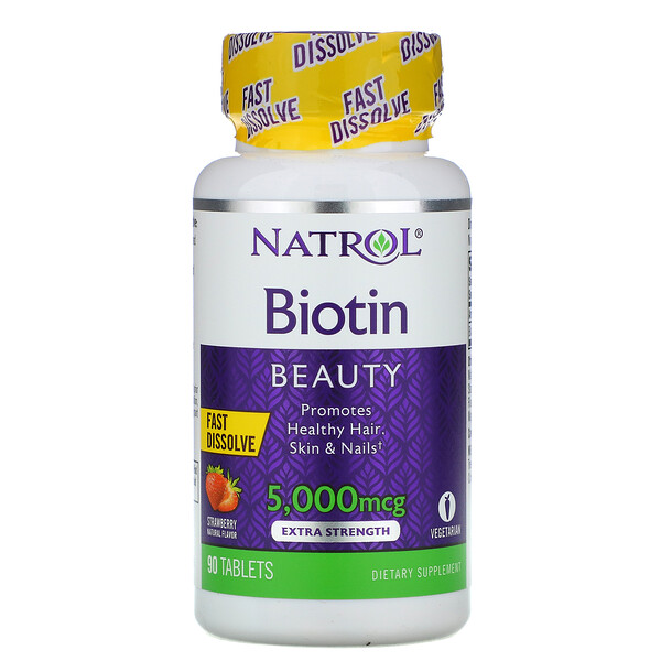 Biotin, Strawberry, 5,000 mcg, 90 Tablets