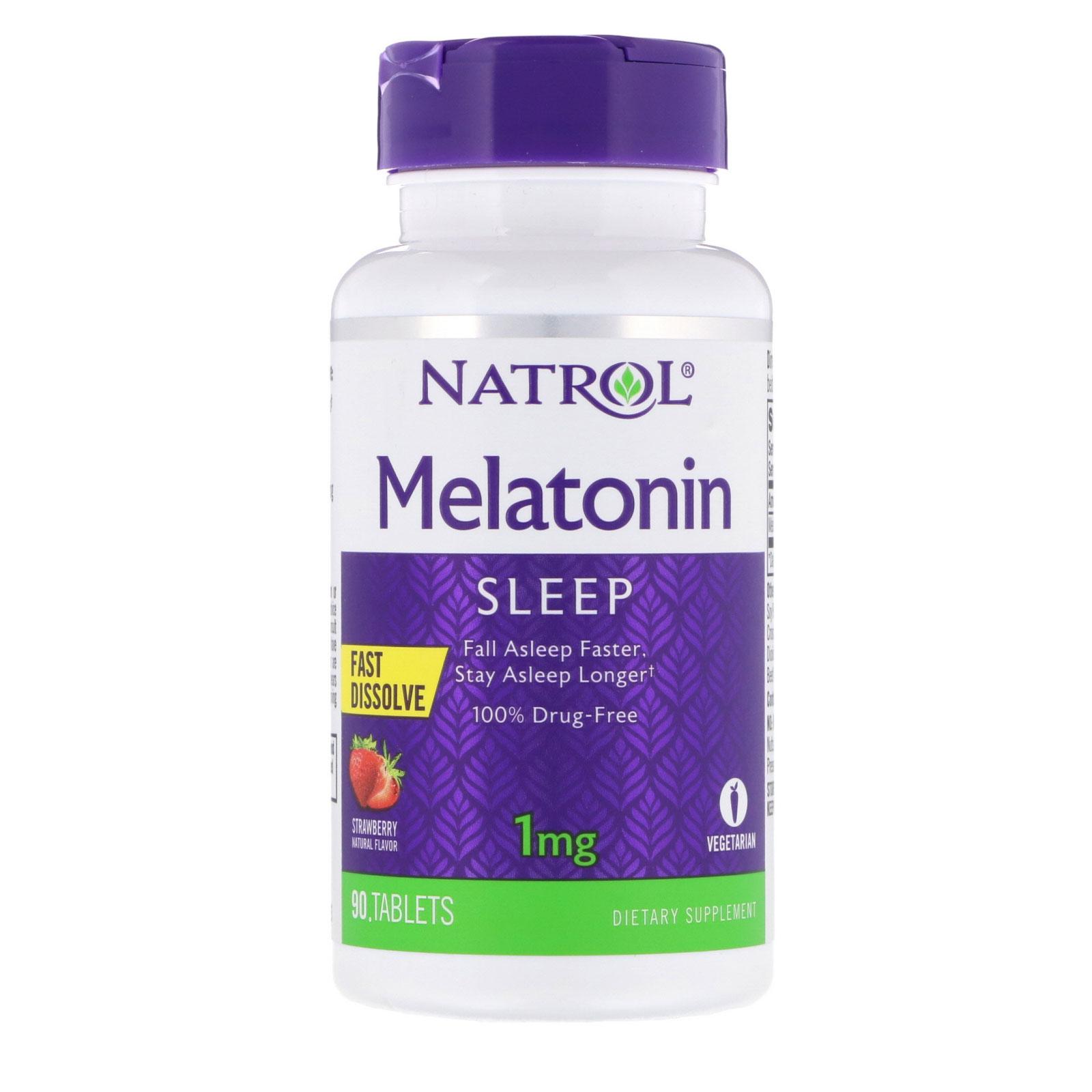 Natrol, Mélatonine, dissolution rapide, fraise, 1 mg, 90