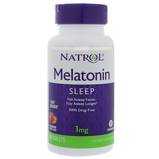 Natrol, Melatonin, Fast Dissolve, Strawberry, 1 mg, 90 Tablets