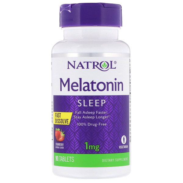 Melatonin, Fast Dissolve, Strawberry, 1 mg, 90 Tablets