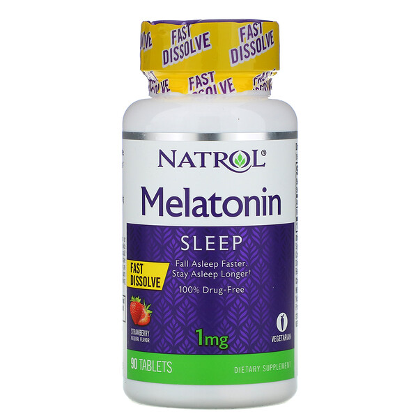 Natrol, Mélatonine, dissolution rapide, fraise, 1 mg, 90 comprimés