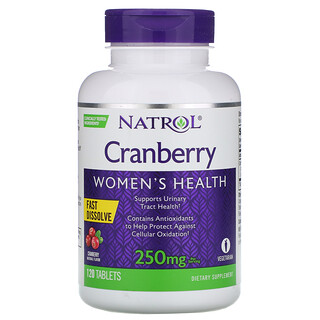 Natrol, Cranberry, Fast Dissolve, Cranberry Flavor, 250 mg, 120 Tablets